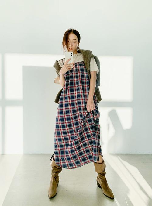 Long Sleeveless Check Dress
