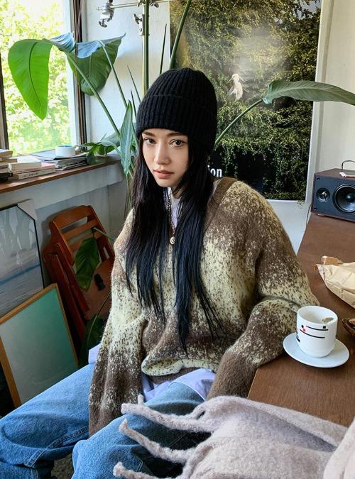 Flecked Gradient Knit Sweater