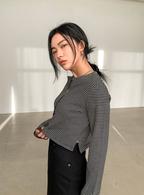 Striped Button-Up Short Cardigan