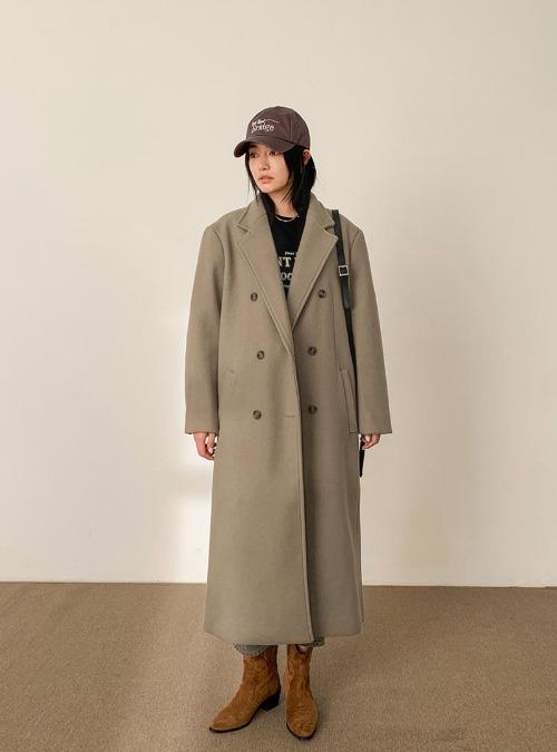 Notch Lapel Double-Breasted Midi Coat