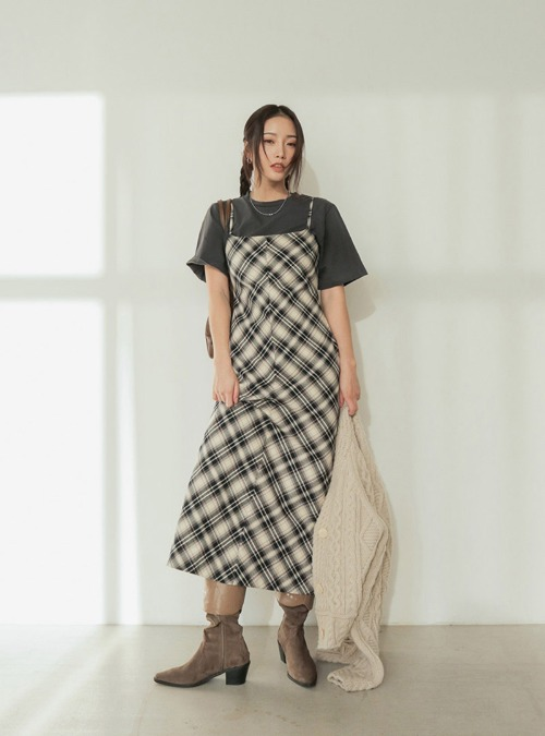 Sleeveless Check Long Dress
