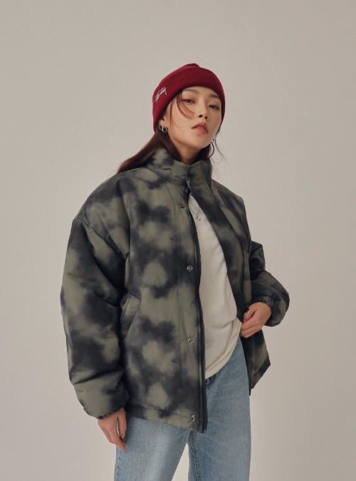 Patterned Loose Fit Puffer Jacket