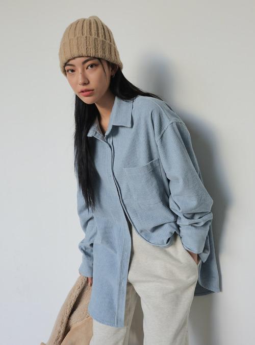 Corduroy Boxy Button-Up Shirt