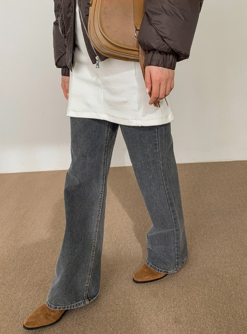 Contrast Stitch Long Straight Jeans