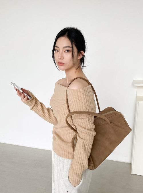 Foldover Off-Shoulder Knit Top