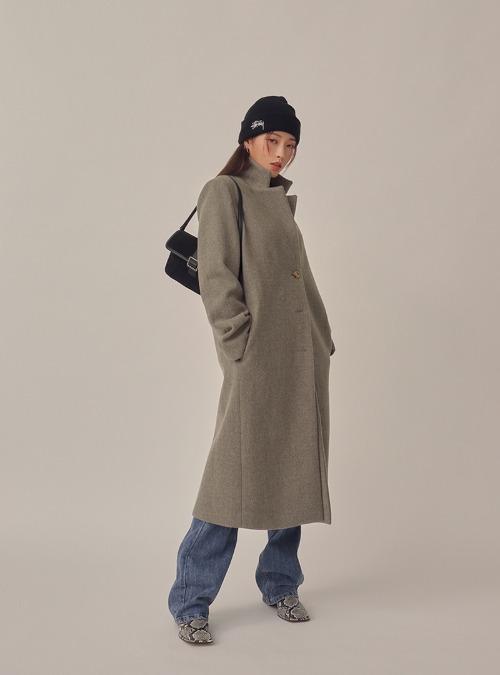 Single-Breasted Notch Lapel Coat