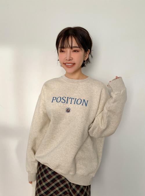 Lettering Print Fleece-Lined Loose Sweatshirt