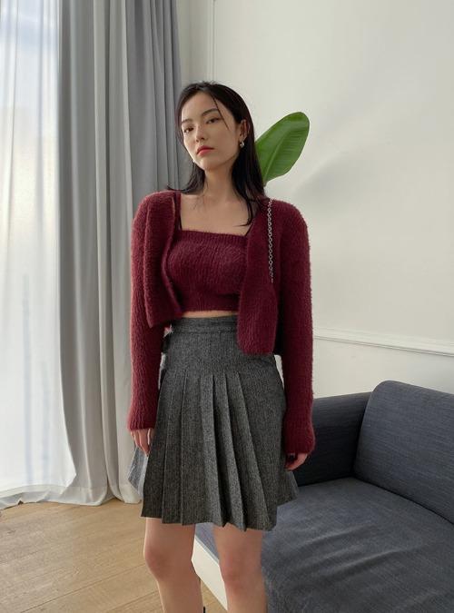 Pleated Herringbone Mini Skirt