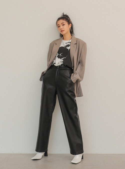 Straight Cut Faux Leather Pants