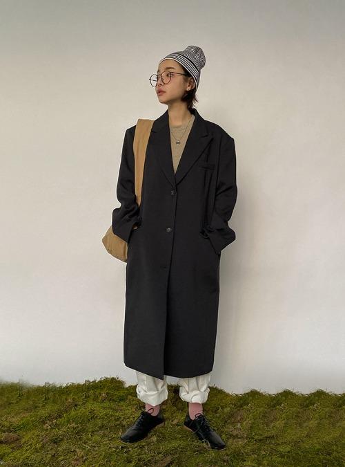 Peak Lapel Single-Breasted Midi Coat