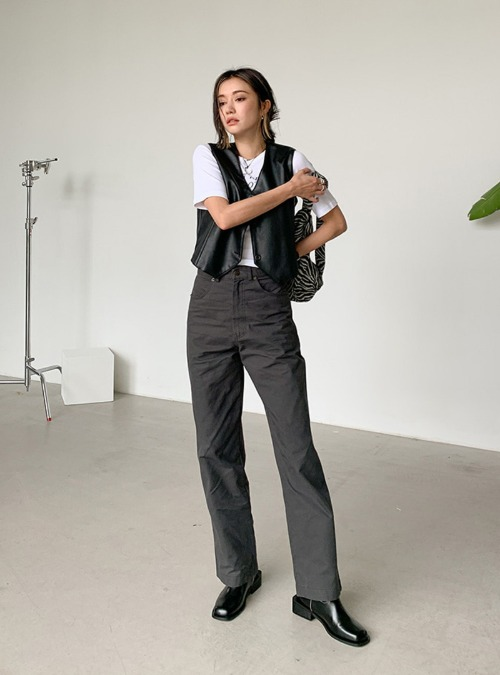 Solid Tone Loose Fit Straight Pants