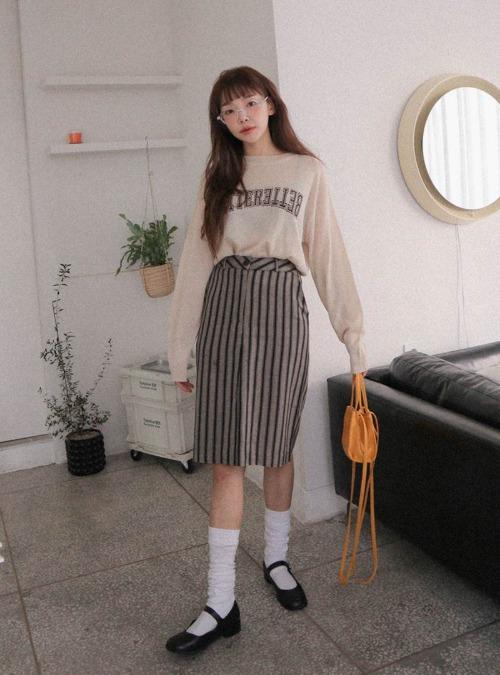 Front Slit Striped Straight Skirt