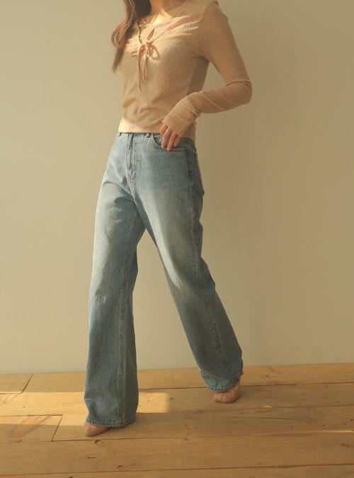 Straight Cut 5-Pocket Long Pants