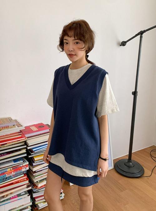V-Neck Vest and Drawstring Mini Skirt Set
