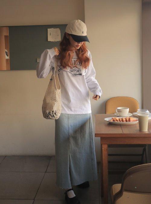 Front Slit A-Line Maxi Denim Skirt