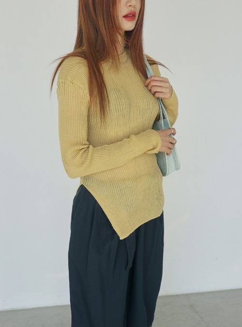Side Slit Ribbed Stretchy Knit Top