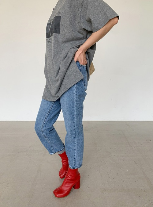 Whisker Wash Tapered Crop Jeans