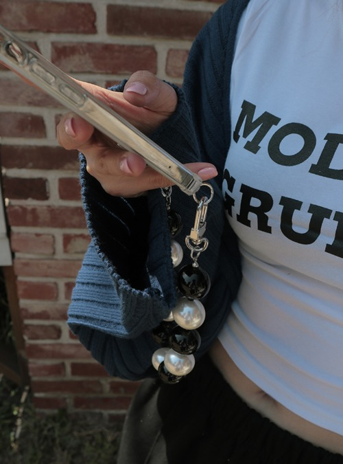 Two-Tone Faux Pearl Phone Strap