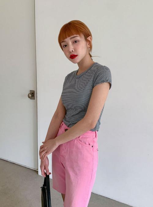 Striped Cap Sleeve T-Shirt