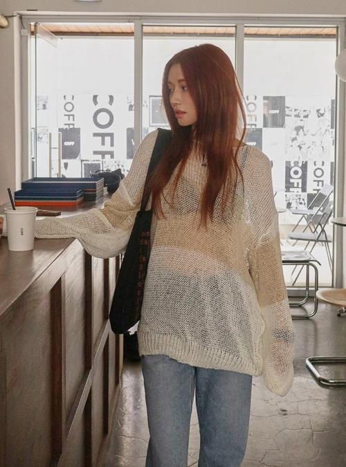 Loose Fit Sheer Net Knit Top