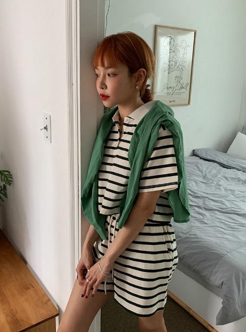 Cropped Stripe Polo Shirt