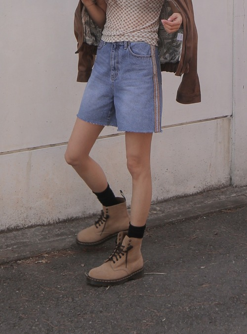 Contrast Side Distressed Jean Shorts