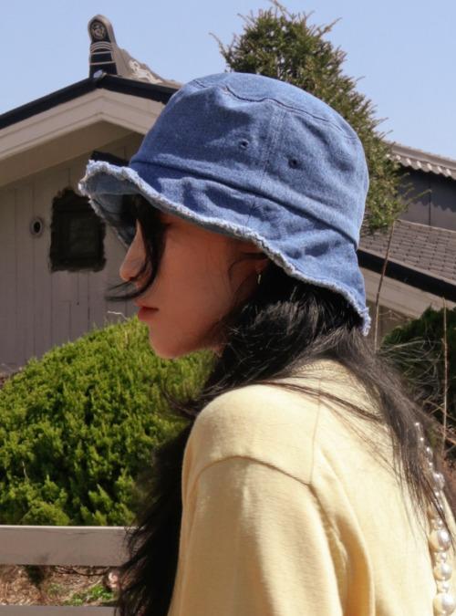 Frayed Edge Cotton Bucket Hat