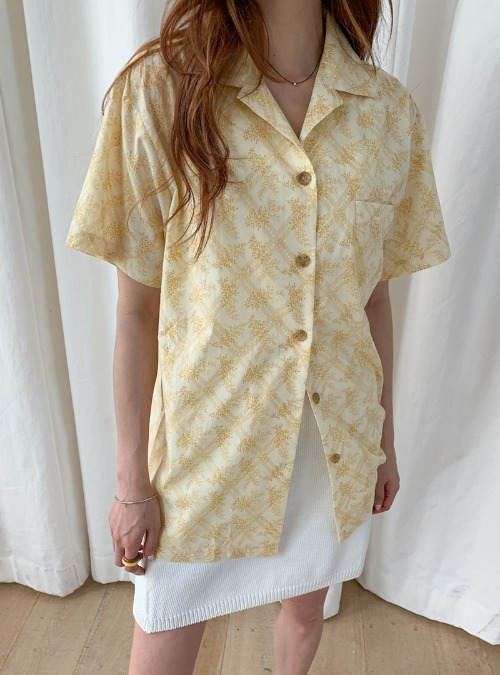 Leaf-Printed Button-Up Shirt