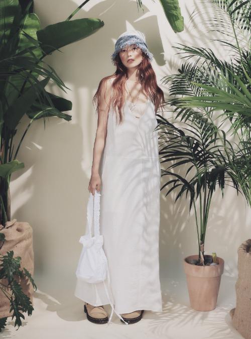 Crinkled Sleeveless Long Dress