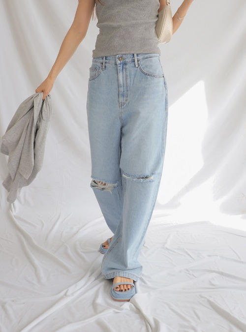 Ripped Knee Straight Leg Jeans