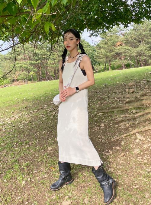 Tie-Strap Sleeveless Long Dress