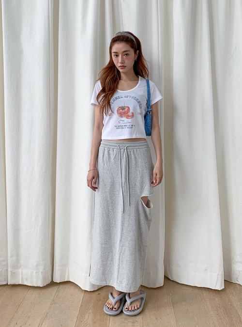 Cutout Side Drawstring Long Skirt