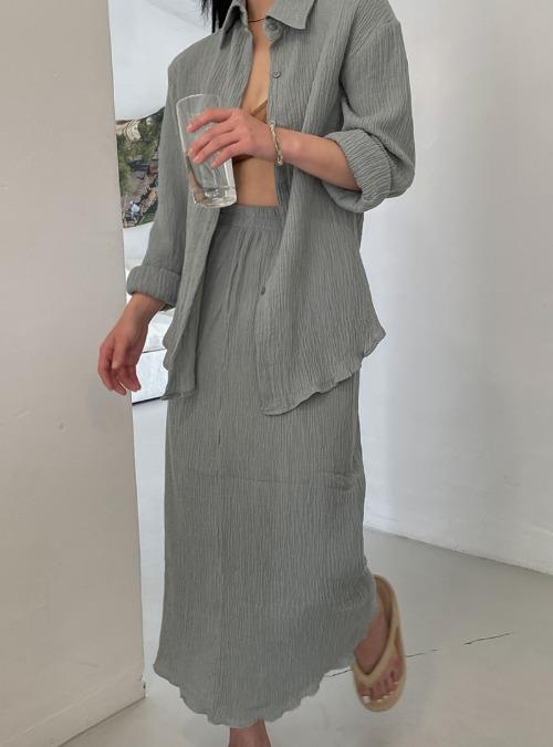 Crinkled Midaxi Skirt