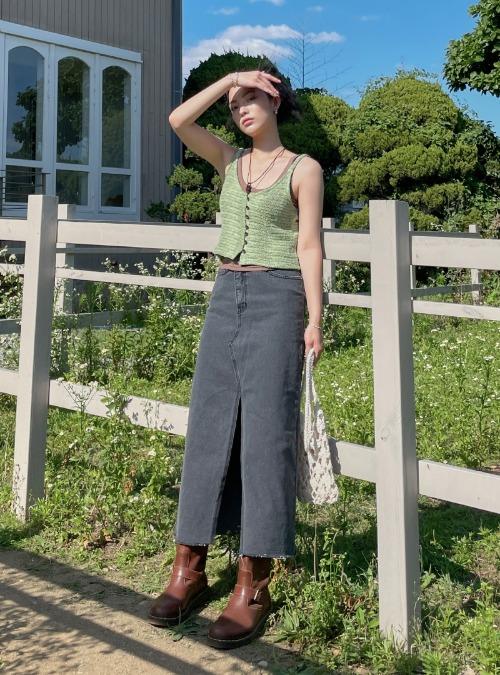 Front Slit Raw Hem Long Denim Skirt