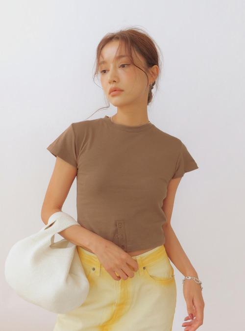Buttoned Slit Cap Sleeve T-Shirt