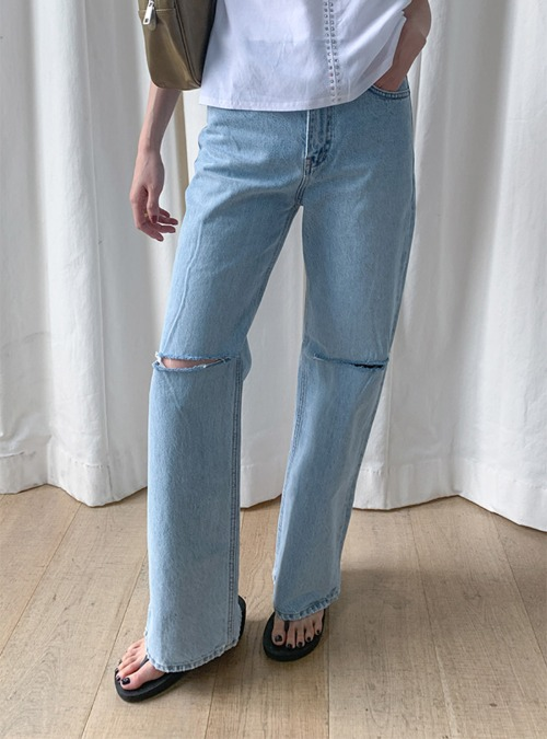 Ripped Knee Long Bootcut Jeans