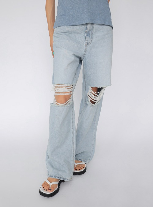 Faded Wash Ripped Jeans