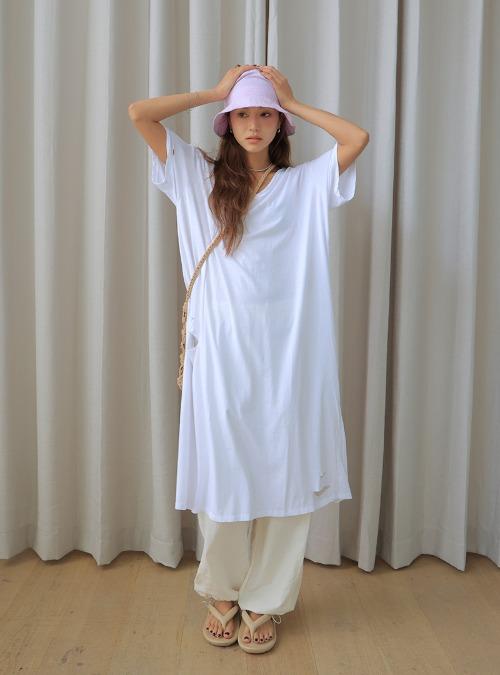 Distressed V-Neck Long Dress