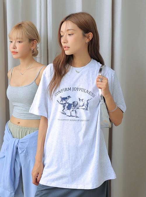 Dog Print Crew Neck T-Shirt