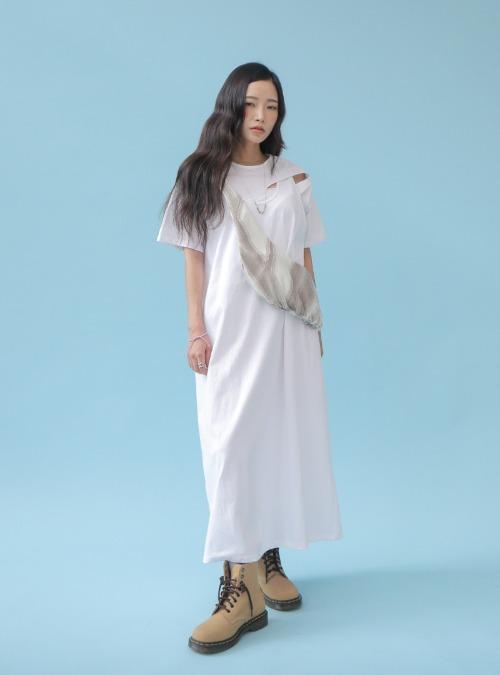 Chest Slit Detail Layered Dress