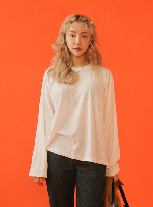 Basic Loose Fit Solid Tone T-Shirt