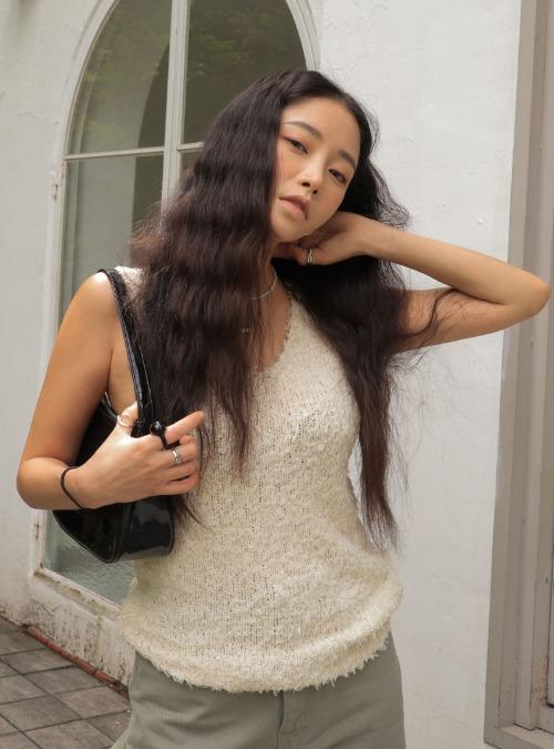 Sleeveless Fuzzy Knit Top