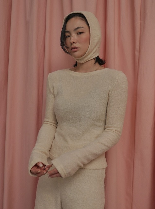 Knit Top and Detached Hood Set