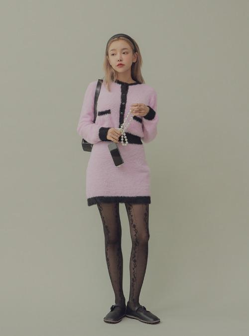 Fuzzy Two-Tone Mini Skirt