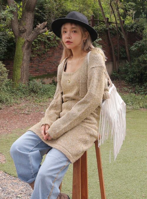 Open Front Cotton-Blend Cardigan