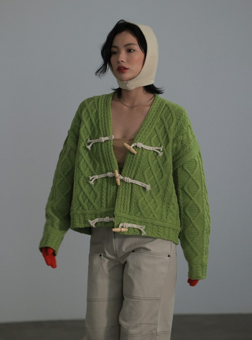 Front Toggle Cable Knit Cardigan