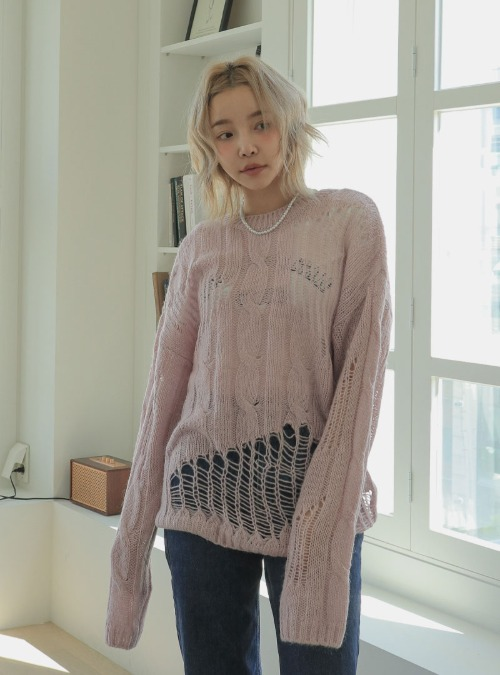 Distressed Round Neck Cable Knit Top