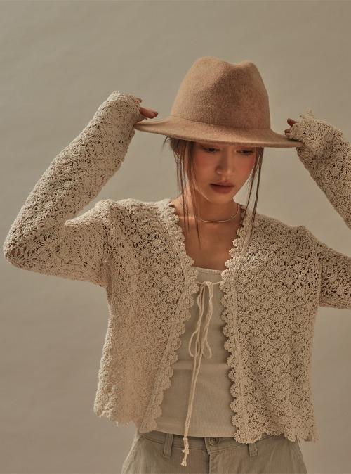 Tie-Front Crochet Cardigan