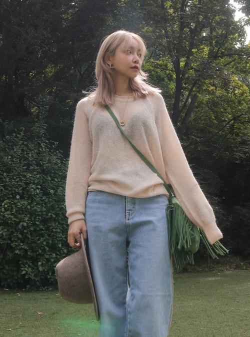 Semi-Sheer Raglan Knit Top