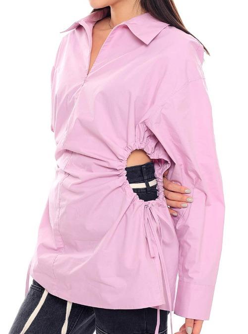 Tie-Side Zip-Up Shirt